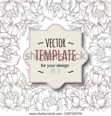 Ornate floral flyer with flowers. Doodle sharpie background. template for card, poster, leaflet. Hand drawn wedding invitation