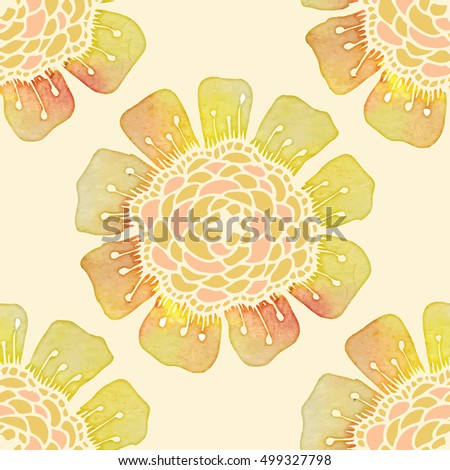 Ornate floral watercolor pattern with flowers. Doodle sharpie background. template for card, poster, leaflet. seamless