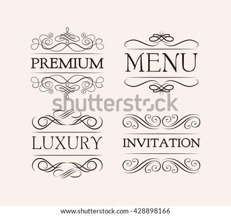 Ornate frame elements vintage filigree decoration stock vector vintage and filigree decoration menu luxury premium invitation stopboris Choice Image