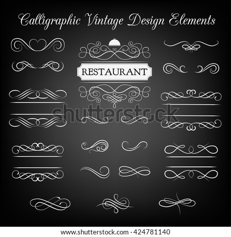 Ornate frame elements. Vintage filigree decoration. Filidree ornate frame element.  Divider scroll swirl element. Ornament divider filigree frame.  Vintage ornate filigree frame. Divider scroll swirl. - stock vector