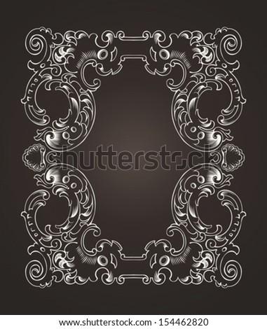 Ornate Frame On Dark Brown - stock vector