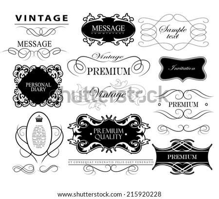 Ornate frames and scroll elements. Set of calligraphic and floral design elements - stock vector