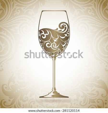 Ornate glass of wine. Vector element for wine list, menu design template. Vector illustration. Decorative icon on a background with pattern - stock vector