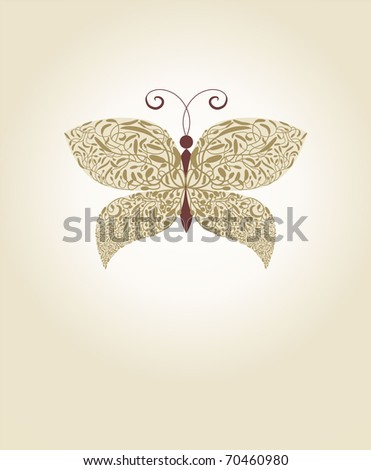 ornate gold vector butterfly - stock vector