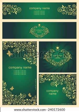 Ornate gold vintage templates for business cards - stock vector