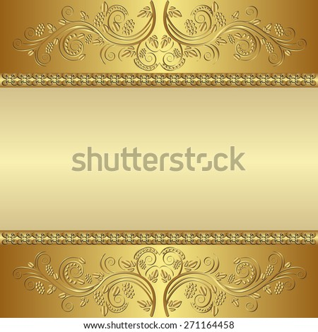 ornate golden background - stock vector