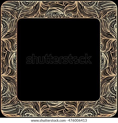 ornate golden vintage frame with multicolored abstract waves and floral ornament on a black background