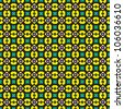 Ornate green and yellow pattern - stock photo