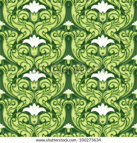 Ornate green floral pattern - stock vector