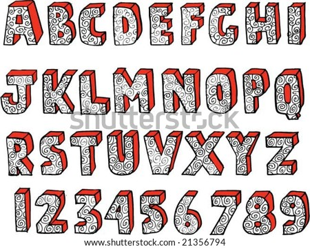 Ornate hand-drawn alphabet