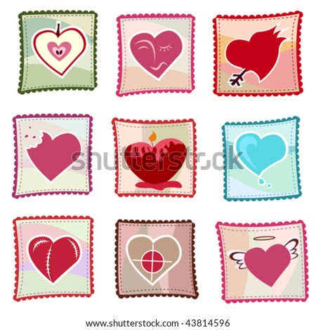 ornate hearts vector - stock vector