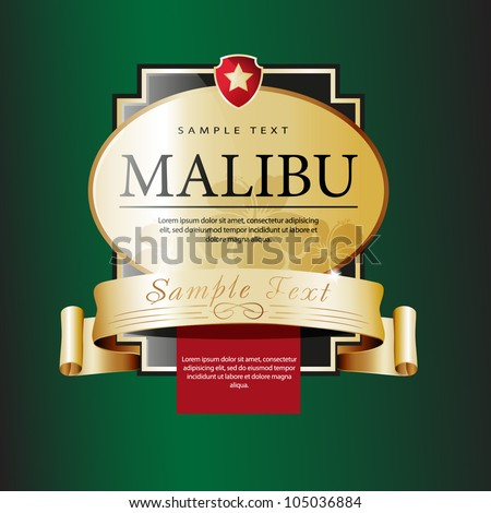 Ornate labels Malibu. Grouped for easy editing. Perfect for labels or stickers for wine, beer, champagne, cognac, cologne and etc. - stock vector