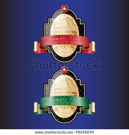 Ornate labels with a kind on Colosseum. Red and green tapes are used. Grouped for easy editing. Perfect for labels or stickers for wine, beer, champagne, cognac, cologne and etc. - stock vector