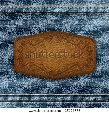 Ornate leather label with copyspace on denim background - eps10 - stock vector