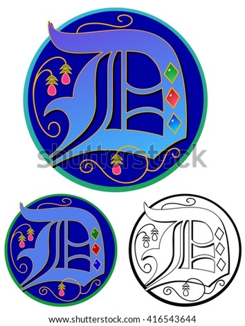 Ornate monogram initial with flat and black outline versions - stock vector