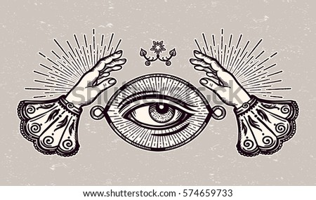 Ornate Old Fashioned Hands And Mystic EyeIsolated Vector IllustrationVintage Alchemy Gothic