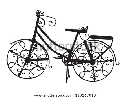 Ornate Ornamental Bike as a Black Silhouette - stock vector