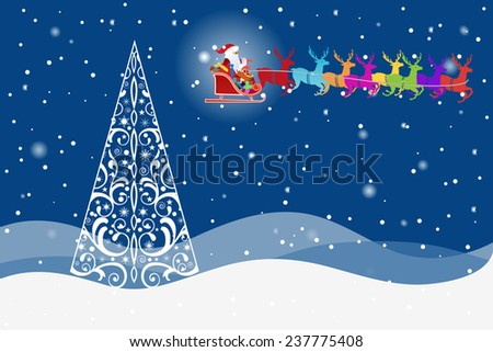 Ornate pine Christmas tree with colorful Santa and reindeer  beautiful night sky (layered) - stock vector
