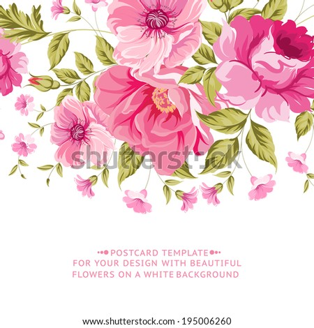 Ornate pink flower decoration with text label. Elegant Vintage Greeting card design. Vector illustration. - stock vector
