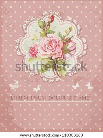 Ornate pink frame decoration with white polka dot pattern. Elegant Vintage Greeting card design. Happy Birthday vector illustration with flowers. - stock vector