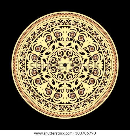 Ornate plate in Russian style. Vector Design element