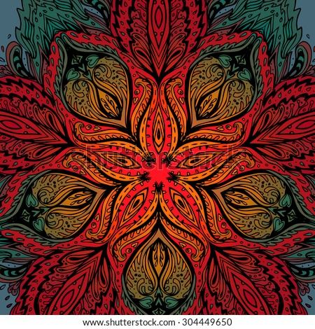 Ornate psychedelic round  pattern. - stock vector
