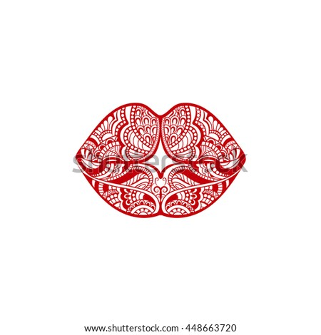 ornate red lips - stock vector