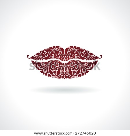 Ornate red lips icon logo kiss red lipstick - stock vector