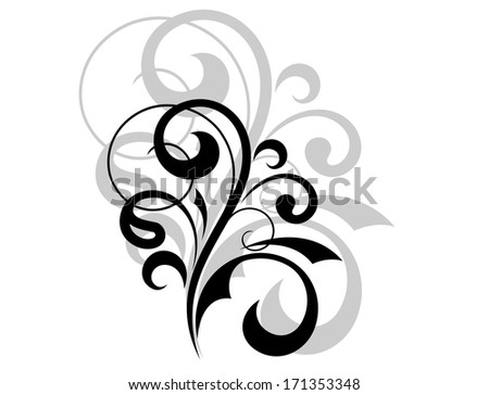Ornate scrolling design element in black and white with an enlarged grey repeating or shadow behind it