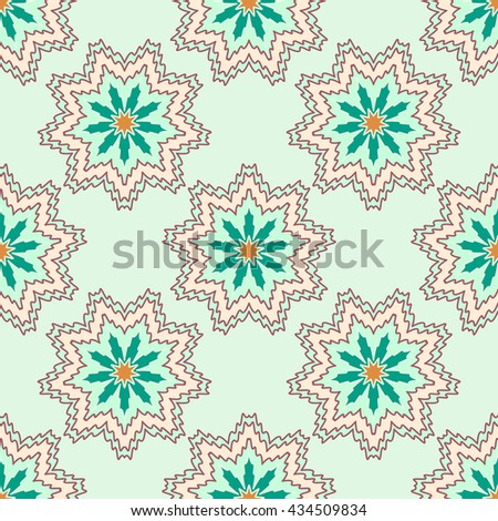 Ornate seamless pattern, endless pattern with abstract color flowers . Seamless pattern can be used for wallpaper, pattern fills, web page background, surface textures - stock vector
