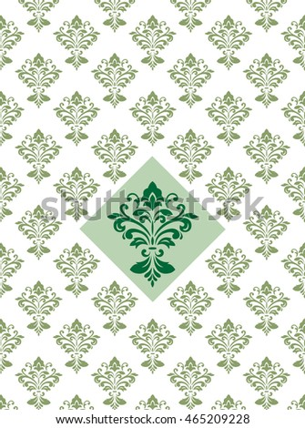 Ornate seamless pattern, transparent background, Victorian style. Swatch and main detail are included in vector file.