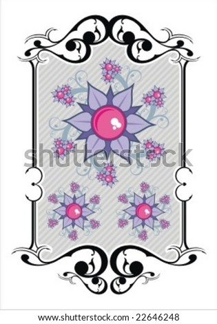 ornate shield with cute flower - stock vector