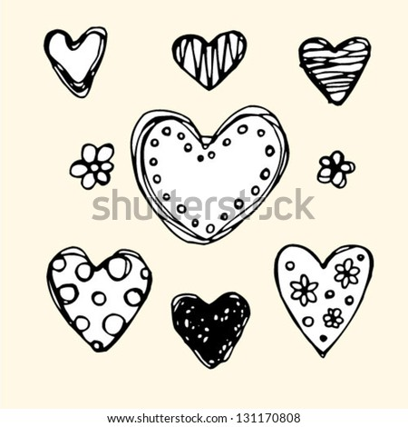 Ornate sketch hearts. Hand drawn cute background. - stock vector
