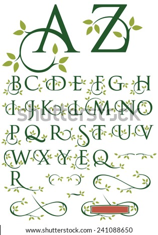 Ornate Swash Alphabet with Leaves. Elegant drop cap vector letters with natural leaf designs. Includes alternate letter designs and ornaments. - stock vector