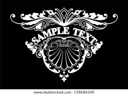 Ornate Triangle Text Banner - stock vector