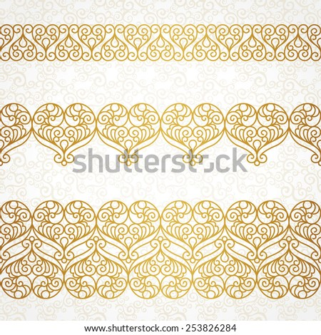 Ornate vector borders with hearts in line art style. Elegant element for design, place for text. Lace floral illustration for wedding invitations, greeting cards, Valentines cards. Outline frames. - stock vector
