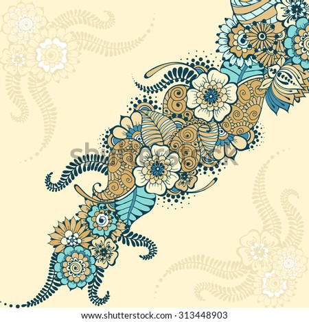 Ornate vector card template indian mehndi stock vector 313448903 ornate vector card template in indian mehndi style hand drawn abstract background invitation stopboris Images