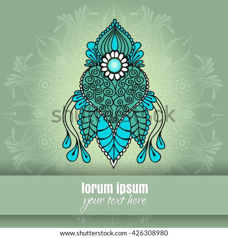 Ornate vector card template indian mehndi stock vector 426308980 ornate vector card template in indian mehndi style hand drawn abstract background invitation stopboris Images