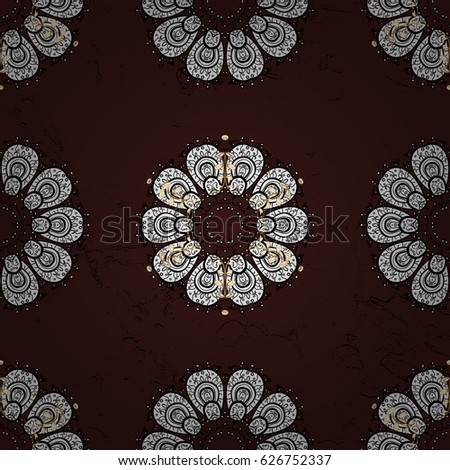 Ornate vector decoration. Seamless damask pattern background for wallpaper design in the style of Baroque. White pattern on brown background with white elements.