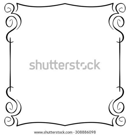 Ornate vector frame on white background. Hand drawing - stock vector