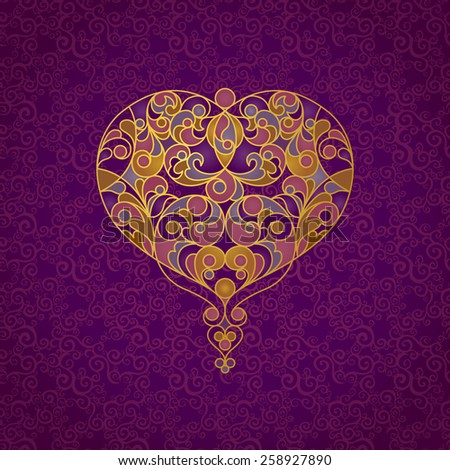 Ornate vector heart in line art style. Elegant element for logo design, place for text. Lace floral illustration for wedding invitations, greeting cards, Valentines cards. Golden outline pattern. - stock vector