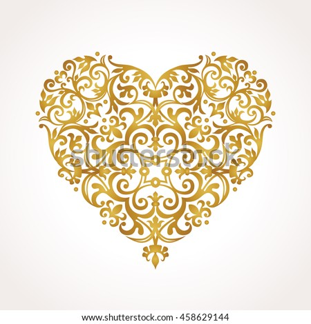 Ornate vector heart in Victorian style. Elegant element for logo design, place for text. Lace floral illustration for wedding invitations, greeting cards, Valentines cards. Golden luxury illustration. - stock vector