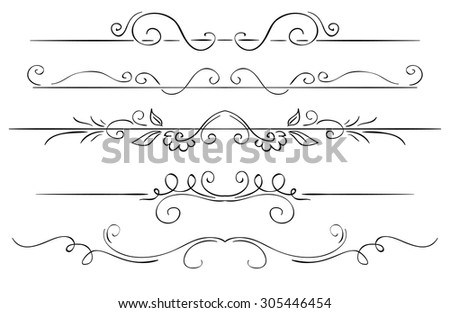 Ornate vector set of borders on a white background. Hand drawing - stock vector