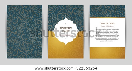 Ornate vintage cards. Outline paisley decor in Eastern style. Template frame for greeting card, wedding invitation, certificate, leaflet, poster. Vector golden border with place for text. - stock vector