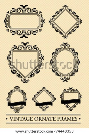 Ornate vintage frame banners - stock vector