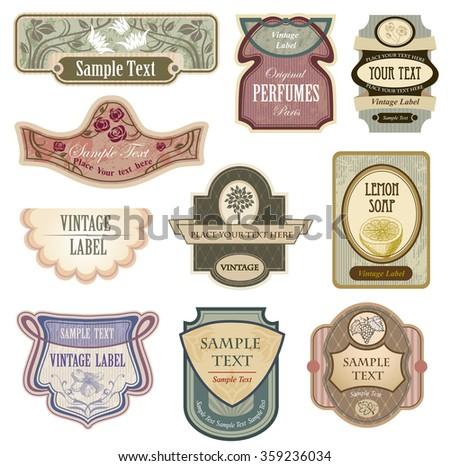 Ornate vintage labels in style Nouveau art.  - stock vector