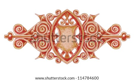 Ornated bronze vintage decor with heraldic shield. Imitation of watercolor drawing. Vector illustration. - stock vector