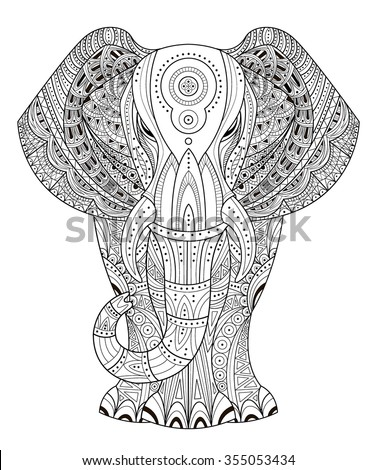 Ornated Elephant Vector Illustration In Zentangle Style Hand Drawn Design Elements