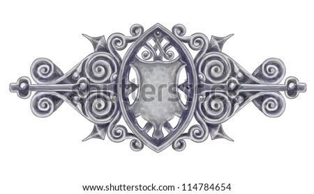 Ornated silver vintage decor with heraldic shield. Imitation of watercolor drawing. Vector illustration. - stock vector