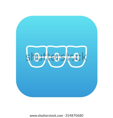 Orthodontic braces line icon for web, mobile and infographics. Vector white icon on the blue gradient square with rounded corners isolated on white background. - stock vector